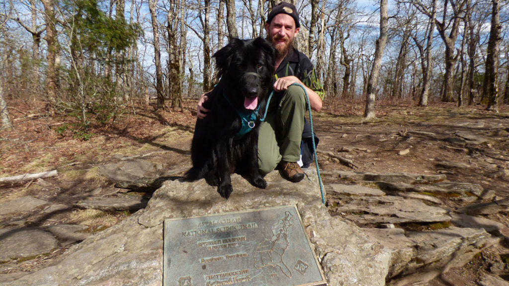 Indie dog and myself at the Southern Terminus of the Appalachian Trail; Spring Mountain